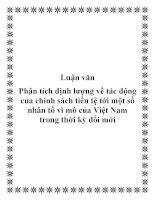Luận văn: Phân tích định lượng về tác động của chính sách tiền tệ tới một số nhân tố vĩ mô của Việt Nam trong thời kỳ đổi mới potx
