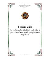 Cơ chế truyền tải chính sách tiền tệ qua kênh tín dụng và giải pháp cho Việt Nam pdf