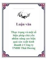 Luận văn: Thực trạng và một số biện pháp chủ yếu nhằm nâng cao hiệu quả sản xuất kinh doanh ở Công ty TNHH Thái Dương pdf