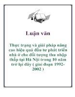 Luận văn: Thực trạng và giải pháp nâng cao hiệu quả đầu tư phát triển nhà ở cho đối tượng thu nhập thấp tại Hà Nội trong 10 năm trở lại đây ( giai đoạn 19922002 ) ppt