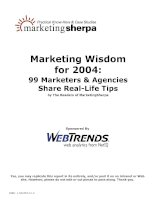 Marketing Wisdom for 2004 99 Marketers & Agencies Share Real-Life Tipsby The Readers pptx