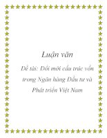 Luận văn: Đổi mới cấu trúc vốn trong Ngân hàng Đầu tư và Phát triển Việt Nam potx