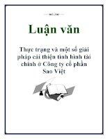 Luận văn: Thực trạng và một số giải pháp cải thiện tình hình tài chính ở Công ty cổ phần Sao Việt ppt