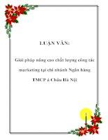 LUẬN VĂN: Giải pháp nâng cao chất lượng công tác marketing tại chi nhánh Ngân hàng TMCP á Châu Hà Nội ppt