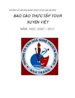 BÁO CÁO THỰC TẬP TOUR XUYÊN VIỆT NĂM HỌC : 2007 – 2011 docx