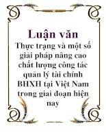 Luận văn: Thực trạng và một số giải pháp nâng cao chất lượng công tác quản lý tài chính BHXH tại Việt Nam trong giai đoạn hiện nay docx