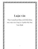 Luận văn: Thực trạng hoạt động xuất khẩu hàng may mặc của Công ty cổ phần Dệt May Nam Định doc