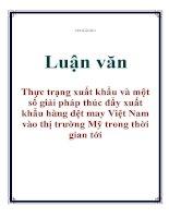 Luận văn: Thực trạng xuất khẩu và một số giải pháp thúc đẩy xuất khẩu hàng dệt may Việt Nam vào thị trường Mỹ trong thời gian tới potx