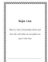 luận văn: Một số ý kiến về hoàn thiện chính sách thúc đẩy xuất khẩu các sản phẩm rau quả ở Việt Nam pdf