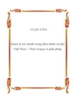 LUẬN VĂN: Quản lý tài chính trong Bảo hiểm xã hội Việt Nam - Thực trạng và giải pháp pptx