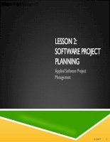 Applied Software Project Management - LESSON 2: SOFTWARE PROJECT PLANNING doc