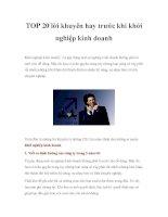 TOP 20 lời khuyên hay trước khi khởi nghiệp kinh doanh doc