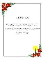 LUẬN VĂN: Giải pháp nâng cao chất lượng công tác marketing tại chi nhánh Ngân hàng TMCP Á Châu Hà Nội pot