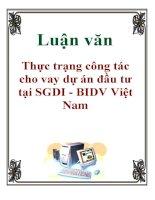 Luận văn: Thực trạng công tác cho vay dự án đầu tư tại SGDI - BIDV Việt Nam ppt