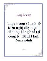Luận văn: Thực trạng và một số kiến nghị đẩy mạnh tiêu thụ hàng hoá tại công ty TMTH tỉnh Nam Định pptx