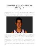 10 bài học quý giá từ danh thủ Jeremy Lin Jeremy Lin pdf