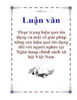 Luận văn: Thực trạng hiệu quả tín dụng và một số giải pháp nâng cao hiệu quả tín dụng đối với người nghèo tại Ngân hang chính sách xã hội Việt Nam pot