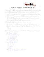 How to Write a Marketing PlanThe Marketing Plan is a highly detailed, heavily researched docx