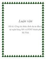 Luận văn: Công tác thẩm định dự án đầu tư tại ngân hàng NN và PTNT thành phố Hà Tĩnh potx