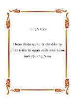 LUẬN VĂN: Hoàn thiện quản lý chi đầu tư phát triển từ ngân sách nhà nước tỉnh Quảng Nam pot