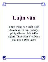 Luận văn Thực trạng sản xuất kinh doanh và và một số biện pháp đầu tư phát triển ngành Thuỷ Sản Việt Nam giai đoạn 1991-2000 pot