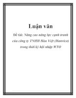 Luận văn: Nâng cao năng lực cạnh tranh của công ty TNHH Hàn Việt (Hanvico) trong thời kỳ hội nhập WTO pdf