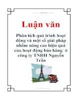 Luận văn: Phân tích quá trình hoạt động và một số giải pháp nhằm nâng cao hiệu quả của hoạt động bán hàng ở công ty TNHH Nguyễn Trần pot