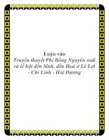 Luận văn Truyền thuyết Phi Bồng Nguyên soái và lễ hội đền Sinh, đền Hoá ở Lê Lợi - Chí Linh - Hải Dương doc