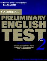 Cambridge preliminary english test 2 - Part 1 pptx