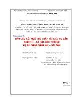 Chuyên đề 3: BÁO CÁO KẾT QUẢ THU THẬP TÀI LIỆU CƠ BẢN, KINH TẾ – XÃ HỘI, MÔI TRƯỜNG HẠ DU SÔNG ĐỒNG NAI – SÀI GÒN pdf