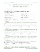 Đáp án chi tiết đề thi tuyển sinh CĐ  ĐH khối A năm 2008 mã đề 794