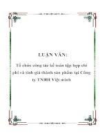 LUẬN VĂN: Tổ chức công tác kế toán tập hợp chi phí và tính giá thành sản phẩm tại Công ty TNHH Việt minh ppsx