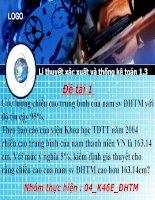 thuyết trình đề tài 1  ước lượng chiều cao trung bình của nam sv đhtm với độ tin cậy 95%.  theo báo cáo của viện khoa học tdtt năm 2004 chiều cao trung bình của nam thanh niên vn là 163.14 cm. với mức