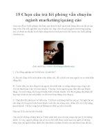15 Chọn câu trả lời phỏng vấn chuyên ngành marketing/quảng cáo pdf