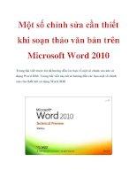 Một số chỉnh sửa cần thiết khi soạn thảo văn bản trên Microsoft Word 2010 potx