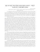 QUAN HỆ THƯƠNG MẠI ĐÀI LOAN – VIỆT NAM TỪ 1990 ĐẾN 2010