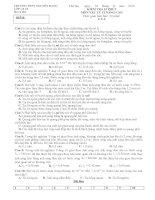 Đề kiểm tra 15 phút Vật lý 12 Nâng cao (lần 6)