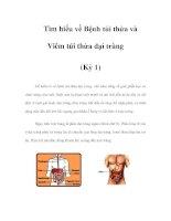 Tìm hiểu về Bệnh túi thừa và Viêm túi thừa đại tràng (Kỳ 1) pptx