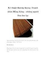 Kỹ thuật thương lượng: Doanh nhân Hồng Kông - những người Hoa lưu lạc pps
