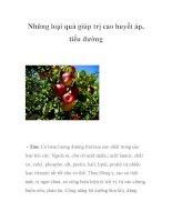Những loại quả giúp trị cao huyết áp, tiểu đường pdf