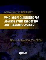 who draft guidelines for  adverse event reporting  and learning systems