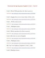 Download bài tập dùng kèm English 9_Unit 1 - Unit 10.doc