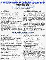 Tuyển sinh vào Chuyên Lương Văn Chánh - Phú Yên - Môn Toán - 05-06 potx