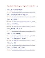 Download bài tập dùng kèm English 7_Unit 1 - Unit 16