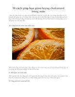 10 cách giúp bạn giảm lượng cholestorol trong máu potx