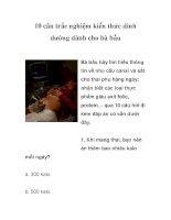 10 câu trắc nghiệm kiến thức dinh dưỡng dành cho bà bầu pdf