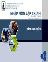 Bài giảng: Nhập môn lập trình - Mảng 2 chiều pdf