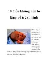 10 điều không nên lo lắng về trẻ sơ sinh doc