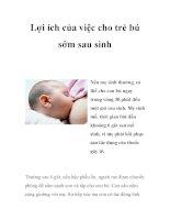 Lợi ích của việc cho trẻ bú sớm sau sinh pot