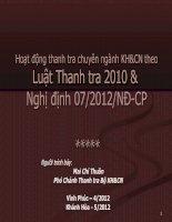 Hoạt động thanh tra chuyên ngành KH&CN theo Luật Thanh tra 2010 & Luật Thanh tra 2010 & Nghị định 07/2012/NĐ-CPNghị định 07/2012/NĐ-CP
